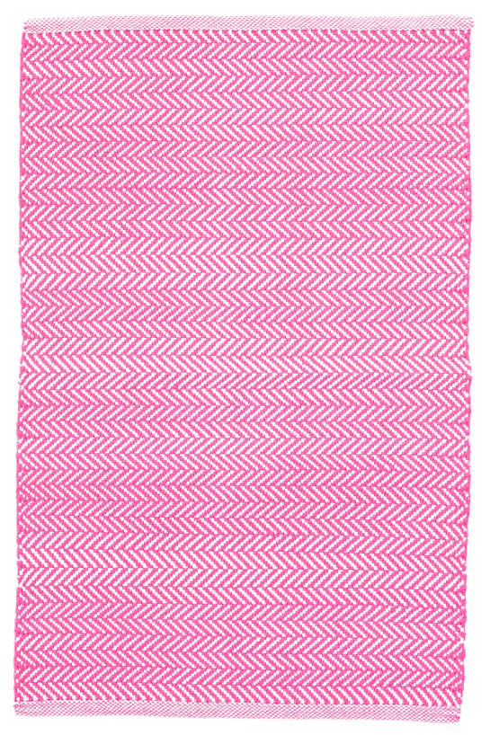 Herringbone Fuchsia/White Indoor/Outdoor Rug