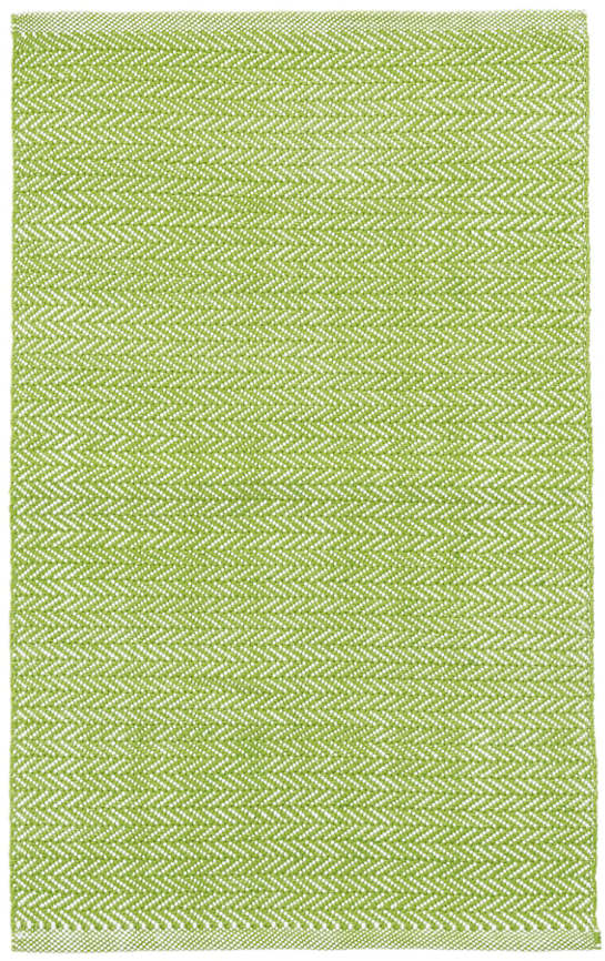 Herringbone Green/White Indoor/Outdoor Rug