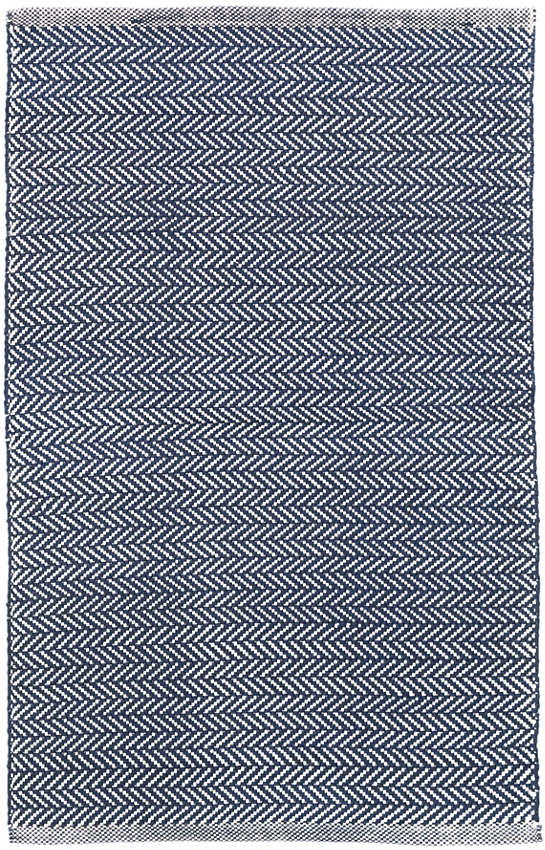 Herringbone Indigo/White Indoor/Outdoor Rug