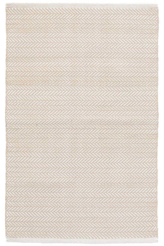 Herringbone Linen/White Indoor/Outdoor Rug