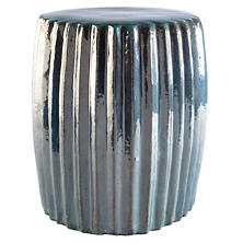 Pleated Patina Ceramic Stool