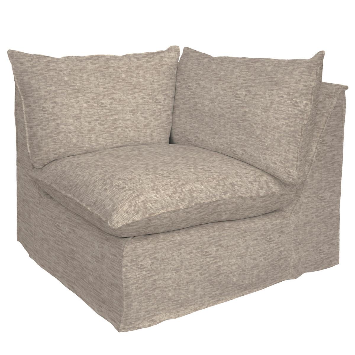 Bark Velvet Stone Hollingsworth Slipcovered Corner Chair