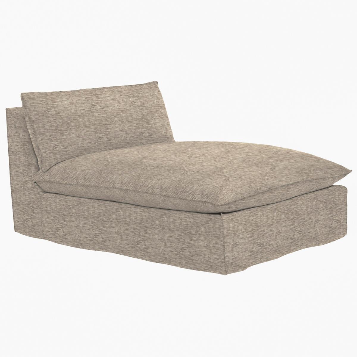 Bark Velvet Stone Hollingsworth Slipcovered Chaise