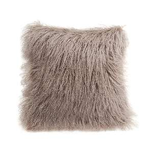 Bark Longwool Tibetan Sheepskin Decorative Pillow