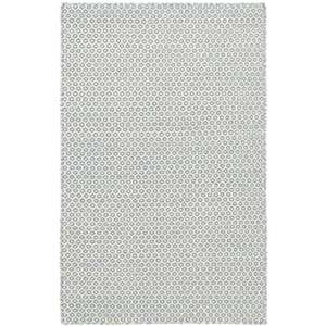 Honeycomb French Blue/Ivory Woven Wool Rug