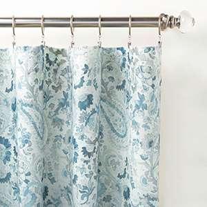 Ines Linen Blue Curtain Panel
