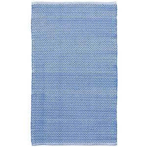 Herringbone French Blue White Indoor Outdoor Rug