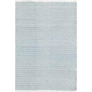 Herringbone Swedish Blue Woven Cotton Rug