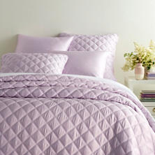 Quilted Silken Solid Pale Lilac Coverlet