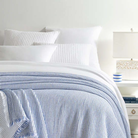 Santo Stripe Blue Coverlet