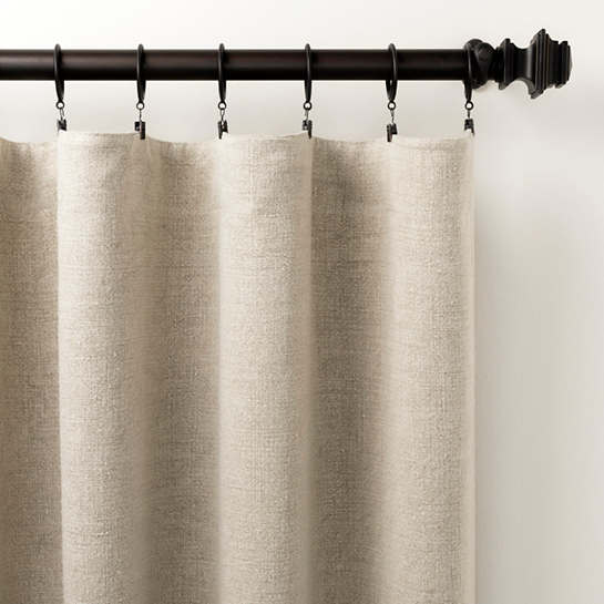 Stone Washed Linen Pearl Grey Curtain Panel