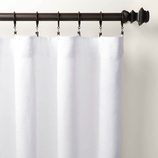 Stone Washed Linen White Curtain Panel