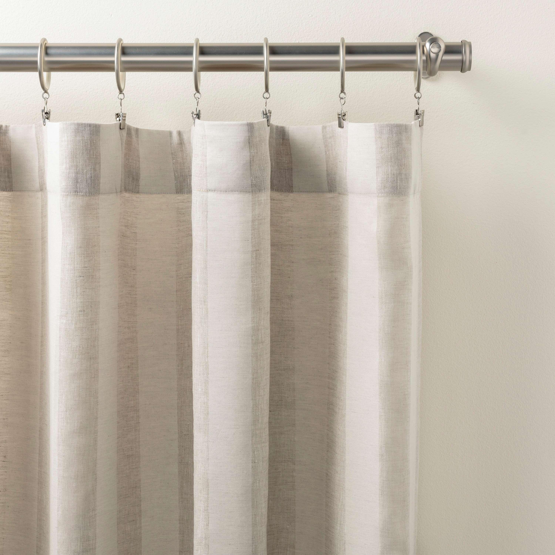 Striped Sheer Natural Curtain Panel