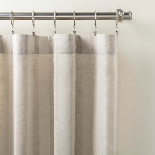 Striped Sheer Natural Curtain Panel