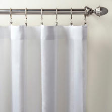Striped Sheer White Curtain Panel