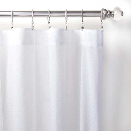 Swiss Dot Embroidered White Curtain Panel