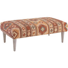 Canyon Kilim Tapered Cerused Oak Leg Rug Ottoman