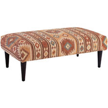 Canyon Kilim Tapered Tobacco Leg Rug Ottoman