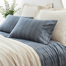 Cascade Stripe Flannel Blue/Oatmeal Sheet Set
