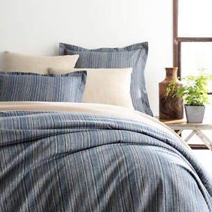 Cascade Stripe Flannel Blue Oatmeal Duvet Cover