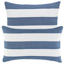 Catamaran Stripe Denim/White Indoor/Outdoor Decorative Pillow