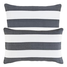 Catamaran Stripe Graphite/White Indoor/Outdoor Decorative Pillow