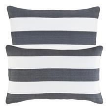Catamaran Stripe Graphite/White Indoor/Outdoor Decorative Pillow