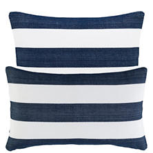 Catamaran Stripe Navy/White Indoor/Outdoor Decorative Pillow