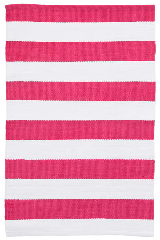 Catamaran Stripe Fuchsia/White Indoor/Outdoor Rug