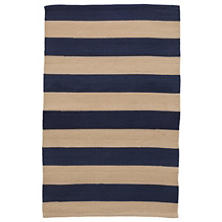 Catamaran Stripe Navy/Khaki Indoor/Outdoor Rug