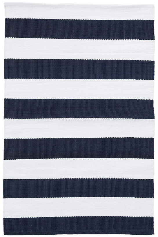catamaran stripe navy/white indoor/outdoor rug | dash & albert