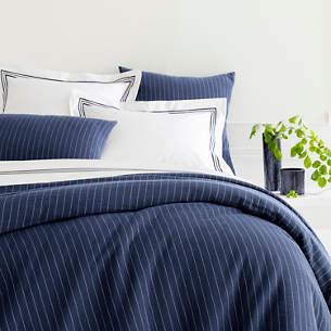 Chalk Stripe Blue Matelasse Duvet Cover