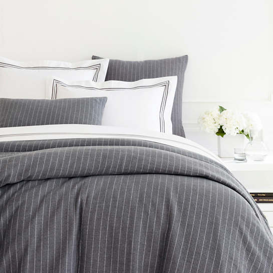 Chalk Stripe Grey Matelassé Duvet Cover