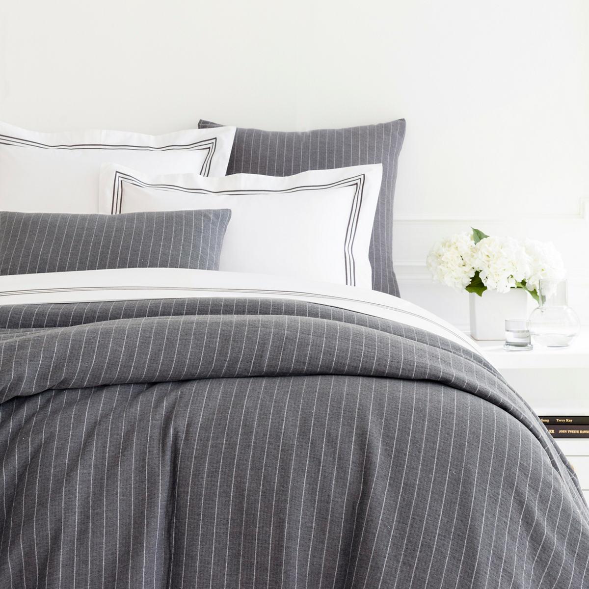 Chalk Stripe Grey Matelassé Duvet Cover