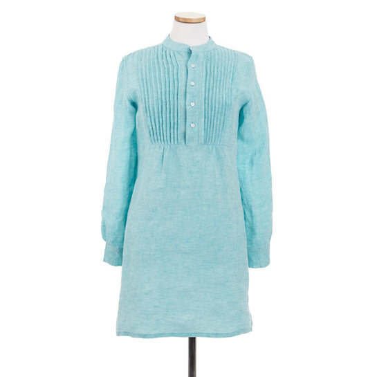 Chambray Pleated Linen Aqua Tunic