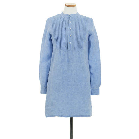 Chambray Pleated Linen French Blue Tunic