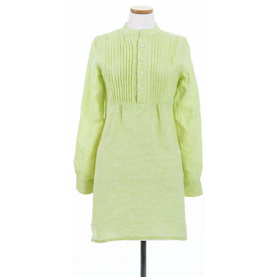 Chambray Pleated Linen Lime Tunic