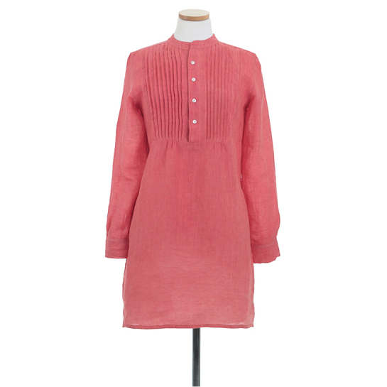 Chambray Pleated Linen Pink Tunic