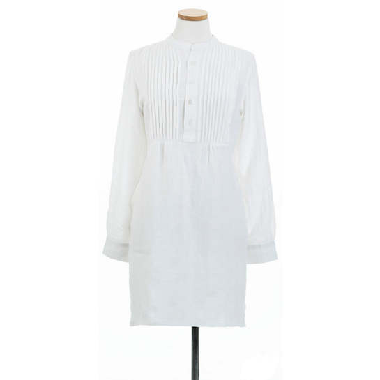 Chambray Pleated Linen White Tunic