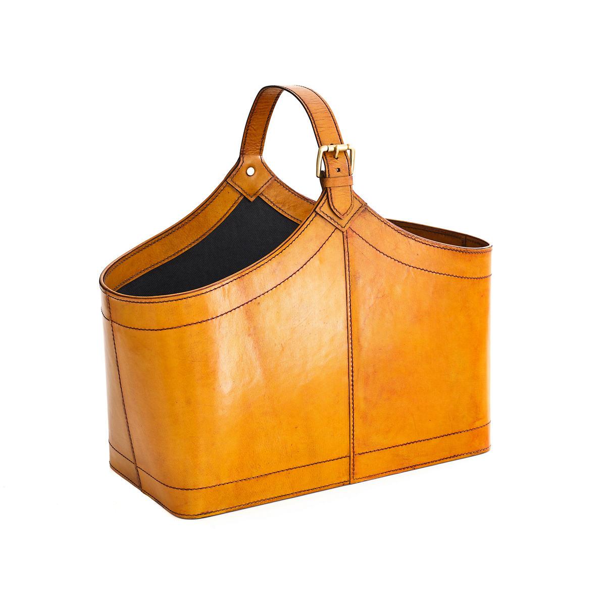 Charles Leather Ochre Basket