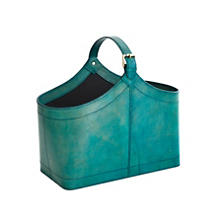 Charles Leather Turquoise Basket