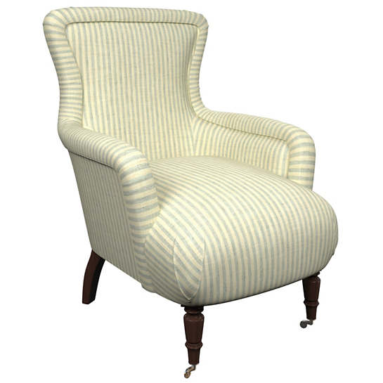 Adams Ticking Light Blue Charleston Chair