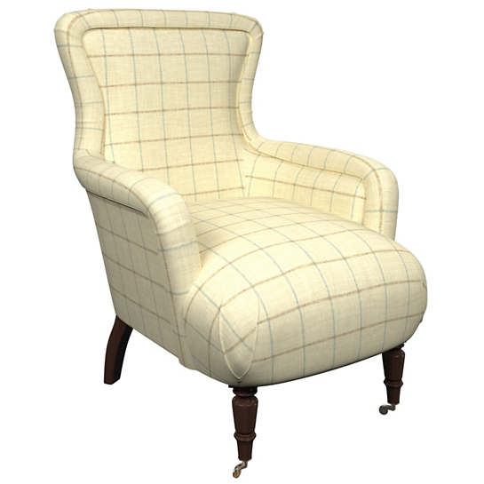 Chatham Tattersall Light Blue/Natural Charleston Chair