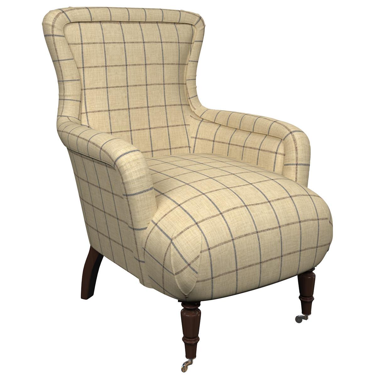 Chatham Tattersall Navy/Brown Charleston Chair