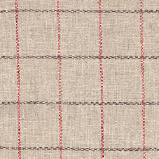 Chatham Tattersall Brick/Brown Indoor/Outdoor Fabric