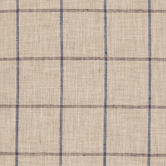 Chatham Tattersall Navy/Brown Indoor/Outdoor Fabric