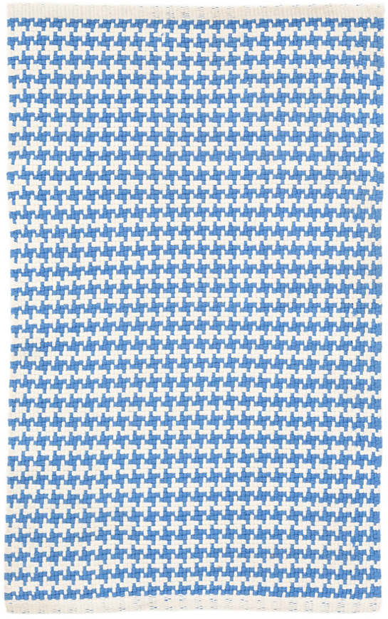 Checks French Blue Woven Cotton Rug