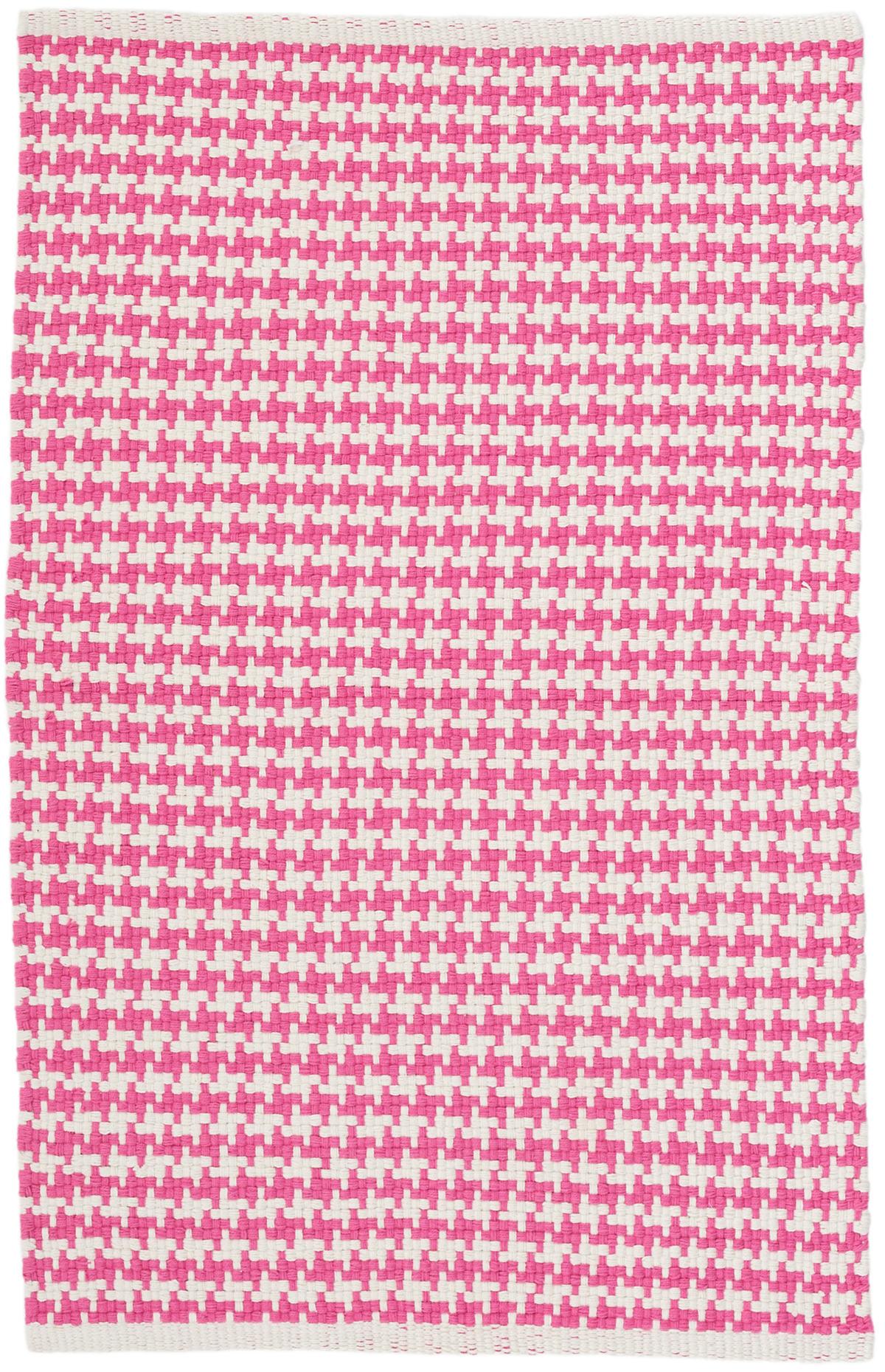 Checks Fuchsia Woven Cotton Rug