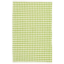 Checks Green Woven Cotton Rug