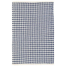Checks Indigo Woven Cotton Rug